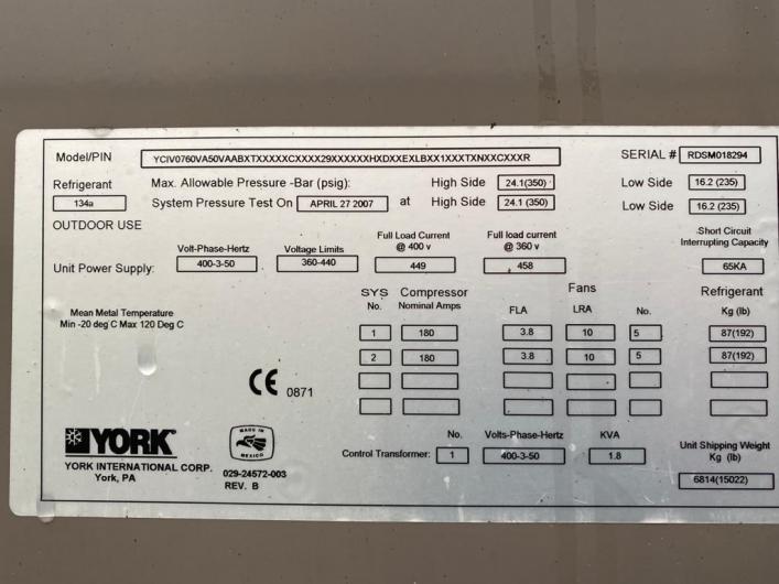 York YCIV Air Cooled Screw Liquid Chillers x 3